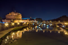 Rome, the castle and the bridge angel, night landscape. Royalty Free Stock Images