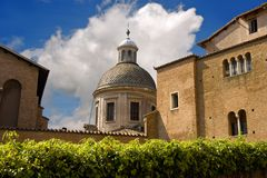 Rome Catholic Church dome cross clouds Stock Photo