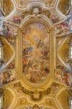 Rome - ceiling fresco (Triumph of Franciscans order - Trionfo dell'Ordine) by Francescano del Baciccio  in church Basilica dei Stock Photography