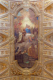 Rome - The ceiling freso with Madonna and Simon Stock by Pietro Paolo Baldini from church Chiesa di Santa Maria in Transpo Royalty Free Stock Image