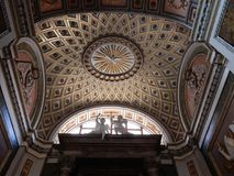 Rome - The Chapel of the Church of Jesus and Mary. Rome, Lazio, Italy - May 30, 2017: intradosse of the covering vault of one of the chapels of the Church of stock photos