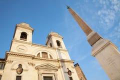 Rome -  Chiesa della Trinita dei Monti and obelisk Stock Image