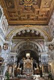 Rome church. ROME, ITALY - APRIL 8, 2012: Interior view of Basilica Santa Maria in Aracoeli in Rome. The famous romanesque church dates back to 12th century Stock Photos