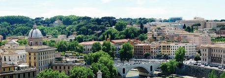 Rome city aerial view from San Angelo castle Royalty Free Stock Image