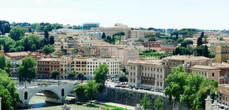 Rome city aerial view from San Angelo castle Royalty Free Stock Photography
