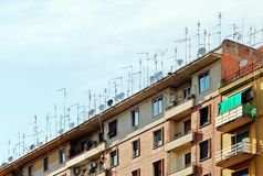 Rome city antenna forest on the roof on May 30, 2014 Royalty Free Stock Photos