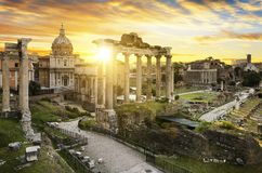 Rome city bu sunrise Italy. Roman Forum. Image of Roman Forum in Rome, Italy during sunrise stock photography