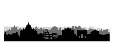 Rome city buildings silhouette. Italian urban landscape. Rome ci Stock Photo