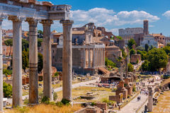 Rome. City forum. A view of the ruins of an ancient city forum. Rome. Italy Royalty Free Stock Photo