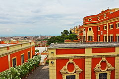 Rome city hilltop buildings Italy. Beautiful hilltop buildings by Fontanone del Gianicolo overlooking the historic Rome city Italy Royalty Free Stock Image