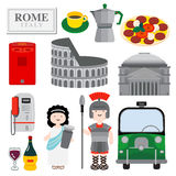 ROME. The city with historical icon, is illustrated through architecture, people, food and public objects to show how lovely the city is Stock Image