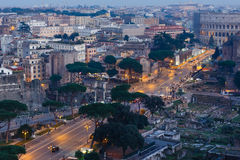 Rome City  illuminated view, Italy. Royalty Free Stock Photography