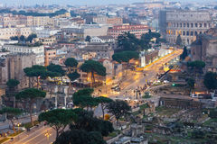 Rome City illuminated view, Italy. Royalty Free Stock Image