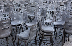 Rome. City landscape. places of Interest. Attractions. Chairs on the square in front of St. Peter and Paul in Rome Royalty Free Stock Images