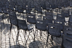 Rome. City landscape. places of Interest. Attractions. Chairs on the square in front of St. Peter and Paul in Rome Stock Images
