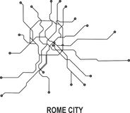 Rome City map. Rome subway map available in vector file format Royalty Free Stock Image