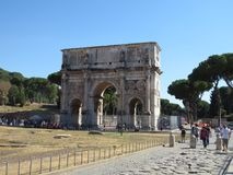 Rome city panorama. View of the Triumphal Arch of Constantine. Rome. Italy. View of the Triumphal Arch of Constantine. Rome city panorama. Trip to Italy Royalty Free Stock Photos