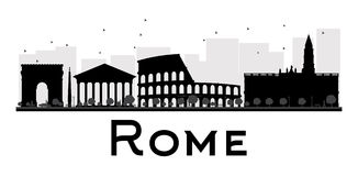 Rome City skyline black and white silhouette. Stock Photography