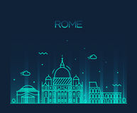 Rome City skyline detailed vector line art style Stock Images