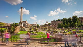 Rome city summer day famous tourist roman forum inside panorama 4k time lapse italy stock footage