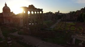 Rome city at sunrise Italy. Roman Forum. Image of Roman Forum in Rome, Italy during sunrise stock video footage
