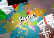 Rome city travel and tourism destination concept. Italy flag and vector illustration