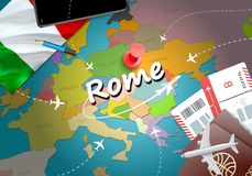 Rome city travel and tourism destination concept. Italy flag and. Rome city on map. Italy travel concept map background. Tickets Planes and flights to Rome royalty free illustration