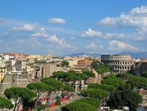 Rome City View. View of City of Rome, Italy, with Colosseum in the picture royalty free stock image