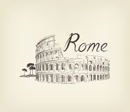 Rome city view. Landmark Coliseum sign. Travel Italy background. Rome famous place with lettering Travel Italy background. City landmark engraving sign Stock Image