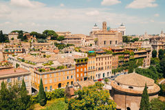 Rome city view from Roman Forums, Italy. Vintage filter Stock Image