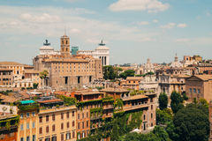 Rome city view from Roman Forums, Italy. Vintage filter Royalty Free Stock Photo