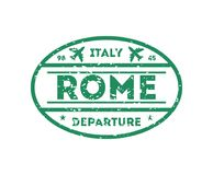 Rome city visa stamp on passport. International immigration sign, airport travel symbol vector illustration stock illustration