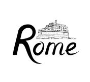 Rome citybackground. Landmark, lettering. Travel Italy sign. Rome famous place with lettering Travel Italy background. City landmark engraving sign. Rome Stock Images