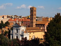 Rome Cityscape. Church next to the Roman Forum, Rome, Italy, photo taken in February Stock Image
