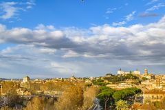 Rome Cityscape Aerial View from Aventino Hill. Viewpoint Royalty Free Stock Image
