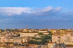 Rome Cityscape Aerial View. Rome night cityscape aerial view from vitorio emanuelle monuent viewpoint Stock Images