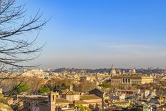 Rome Cityscape Aerial View from Trastevere Hill Royalty Free Stock Photography
