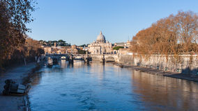 Rome cityscape with bridge and Tiver River Stock Photography