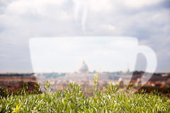 Rome cityscape and a cappuccino cup. Double exposure Royalty Free Stock Photo