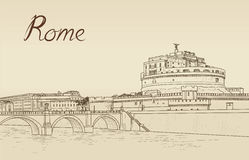 Rome cityscape with Castel Sant`Angelo. Italian city famous landndmark. Rome cityscape with Castle Sant Angelo. Italian city famous landmark skyline. Travel Stock Images