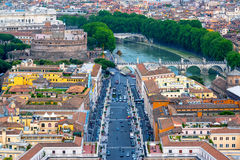Rome cityscape with Castel Sant`Angelo in Rome Stock Image