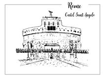 Rome cityscape. Castel Sant`Angelo skyline. architectural symbol. Beautiful hand drawn vector sketch illustration. Italy. Castel Sant`Angelo. Rome architectural Royalty Free Stock Photography
