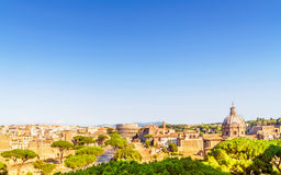 Rome cityscape with forum Romano and Colosseum. Stock Images