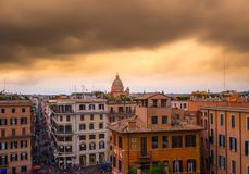 Rome Italy Cityscape. Rome Cityscape in italy dramatic clouds over vatican Stock Photography