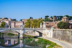 Rome cityscape with Ponte Vittorio Emanuele II Stock Photo