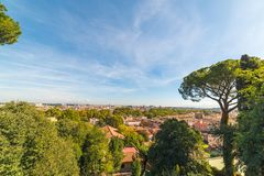 Rome cityscape seen from Promenade of the Janiculum. Italy Stock Image