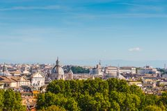 Rome cityscape seen from Promenade of the Janiculum. Italy Royalty Free Stock Photography