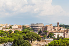Rome cityscape with skylines of the ancient ruins Royalty Free Stock Images