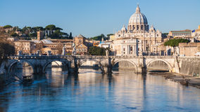 Rome cityscape with St Peter Basilica and Tiber Stock Photography