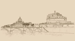 Rome cityscape with St. Peter`s Basilica and Castle Sant Angelo. Stock Images